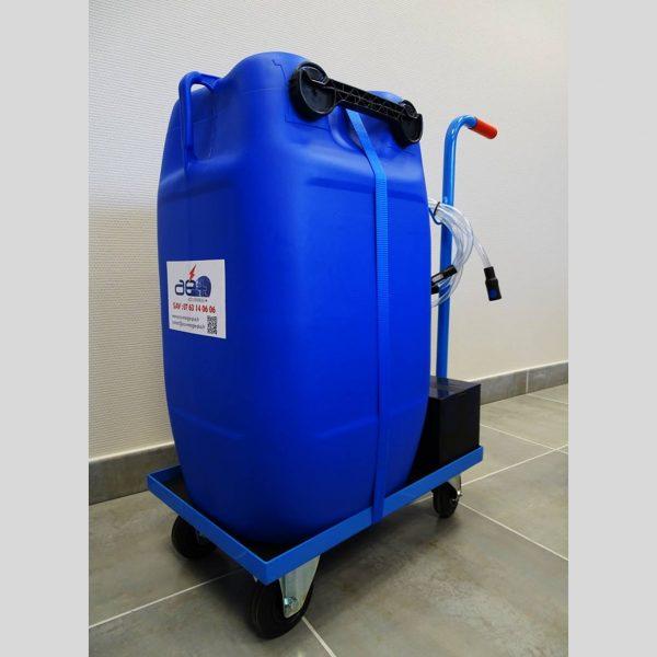 station mobile 60 litres remplissage eau déminéralisée batteries traction chariots élévateurs FENWICK